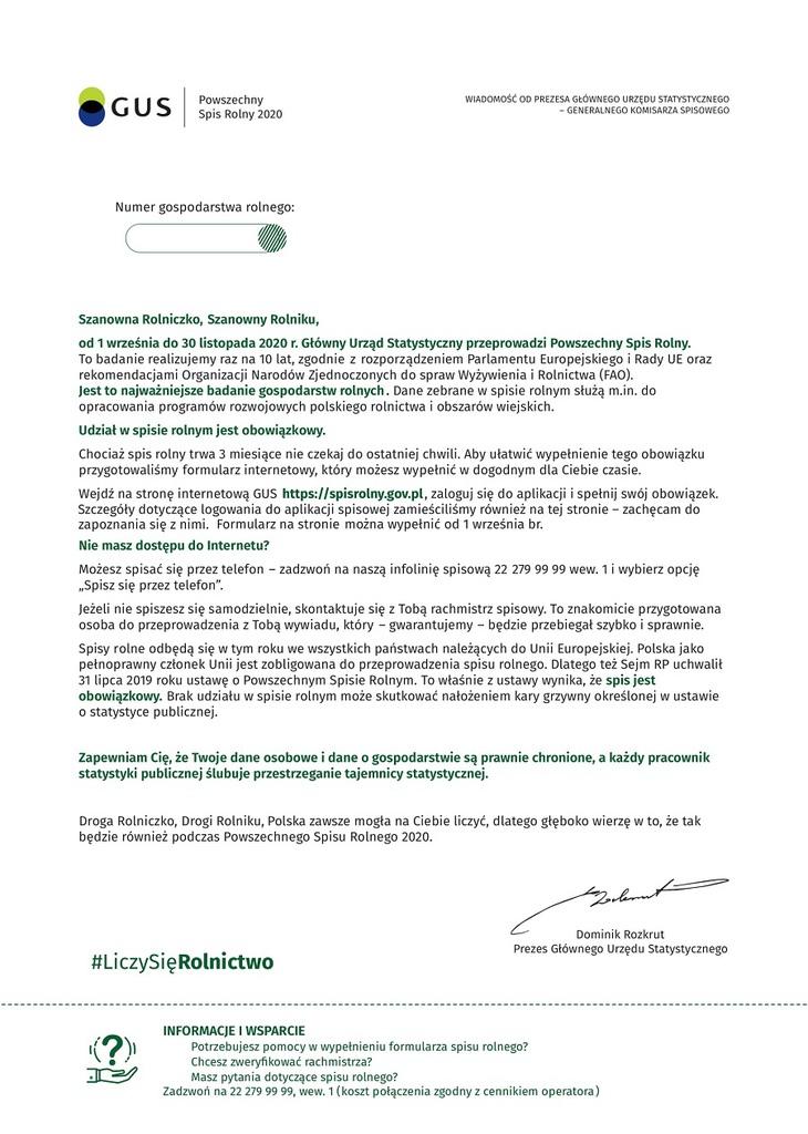 List Prezesa Głównego Urzędu Statystycznego do Rolników Indywidualnych