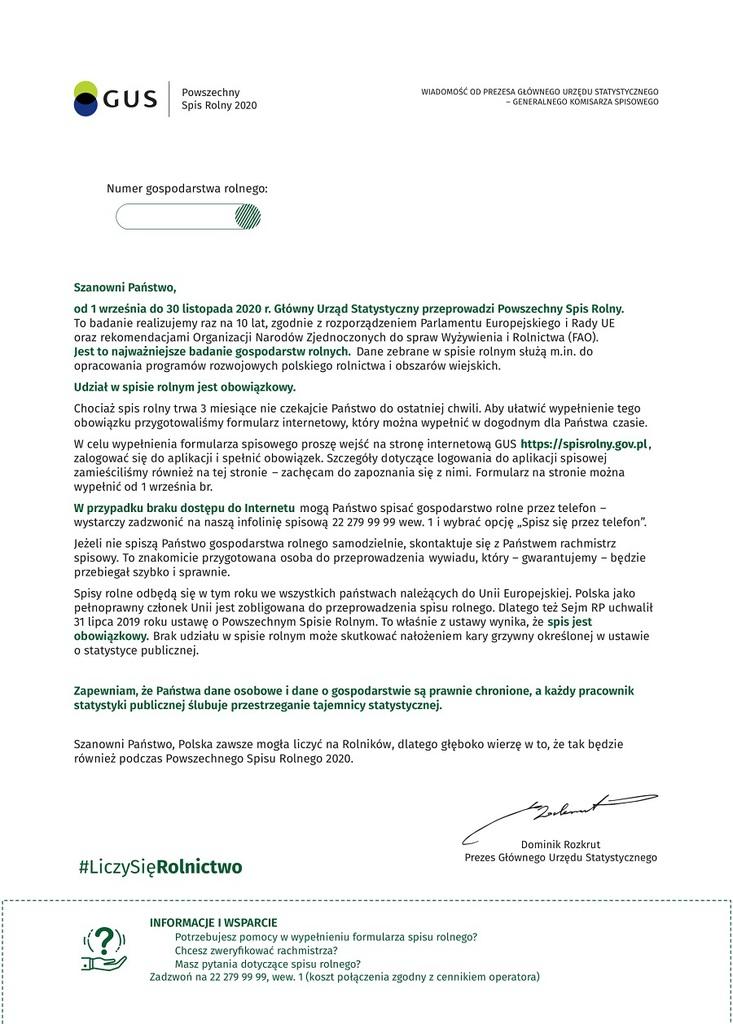 List Prezesa Głównego Urzędu Statystycznego do Osób Prawnych prowadzących działalność Rolniczą