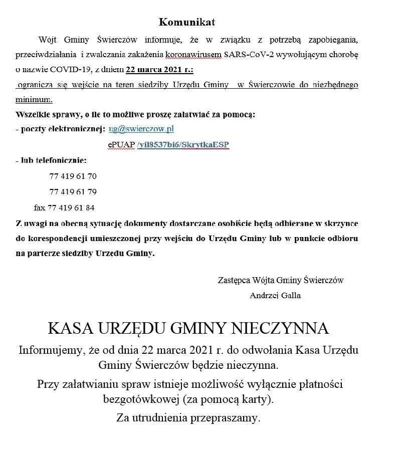 Komunikat Wójta Gminy Świerczów w sprawie ograniczenia wejścia na teren siedziby Urzędu Gminy