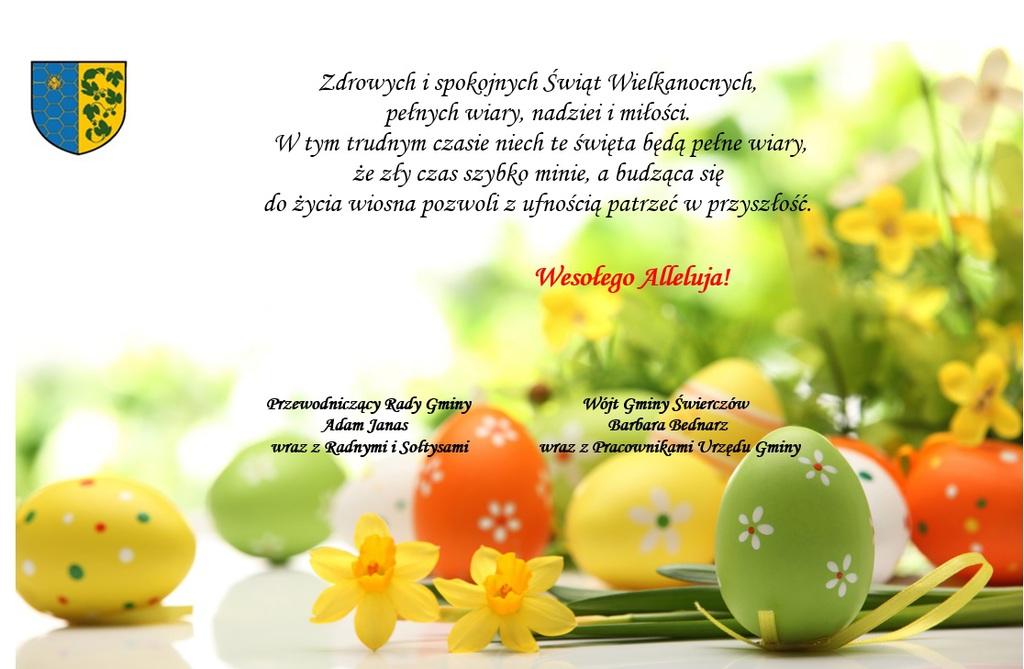 Życzenia z okazji Świąt Wielkanocnych 2021r od Wójta Gminy Świerczów oraz Przewodniczącego Rady Gminy