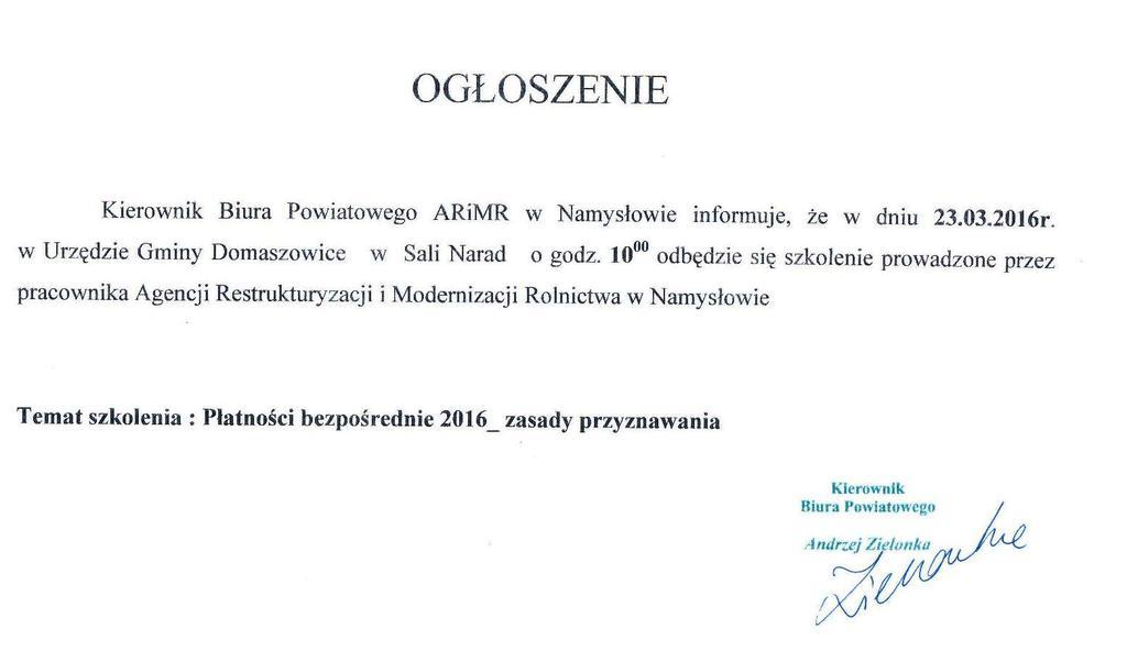 Ogłoszenie Kierownika Biura Powiatowego ARIMR w Namysłowie o szkoleniu.jpeg