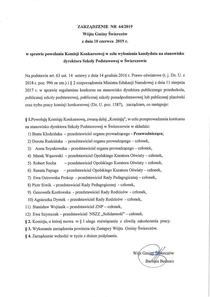 zarządzenie nr 64-2019 Wójta Gminy Świerczów z dnia 10 czerwca 2019r w sprawie powołania Komisji Konkursowej w celu wyłonienia kandydata na stanowisko dyrektora Szkoły Podstawowej w Świerczowie.jpeg
