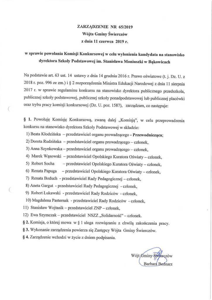 zarządzenie nr 65-2019 Wójta Gminy Świerczów z dnia 11 czerwca 2019r w sprawie powołania Komisji Konkursowej w celu wyłonienia kandydata na stanowisko dyrektora Szkoły Podstawowej Bąkowice.jpeg