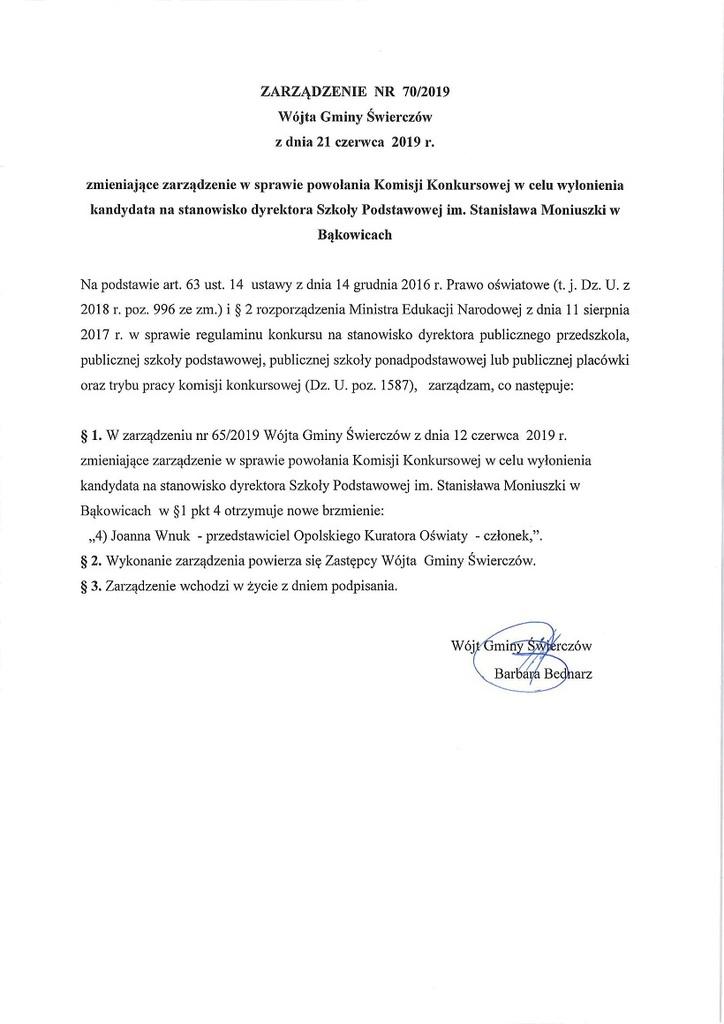 Zarządzenie nr 70-2019 Wójta Gminy Świerczów z dnia 21 czerwca 2019r..jpeg